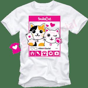 เสื้อยืดลายแมว CAT-03 สีขาว