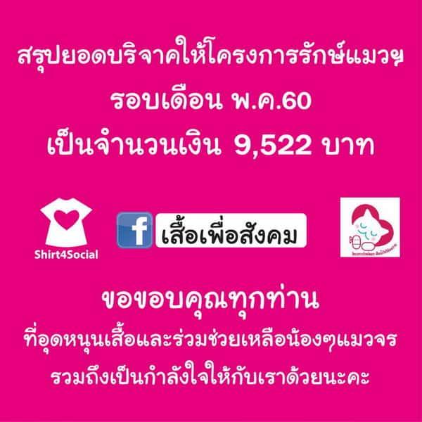 อัพเดทเงินบริจาค โครงการรักษ์แมวฯ พฤษภาคม 2560
