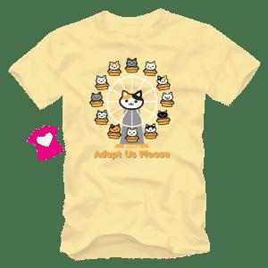 เสื้อยืดลายแมว CAT-12 สีเหลืองอ่อน