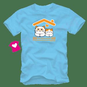 เสื้อยืดลายแมว CAT-15 สีฟ้า