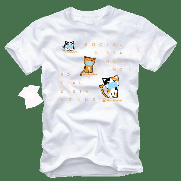 เสื้อยืดลายแมว CAT-Distancing สีขาว