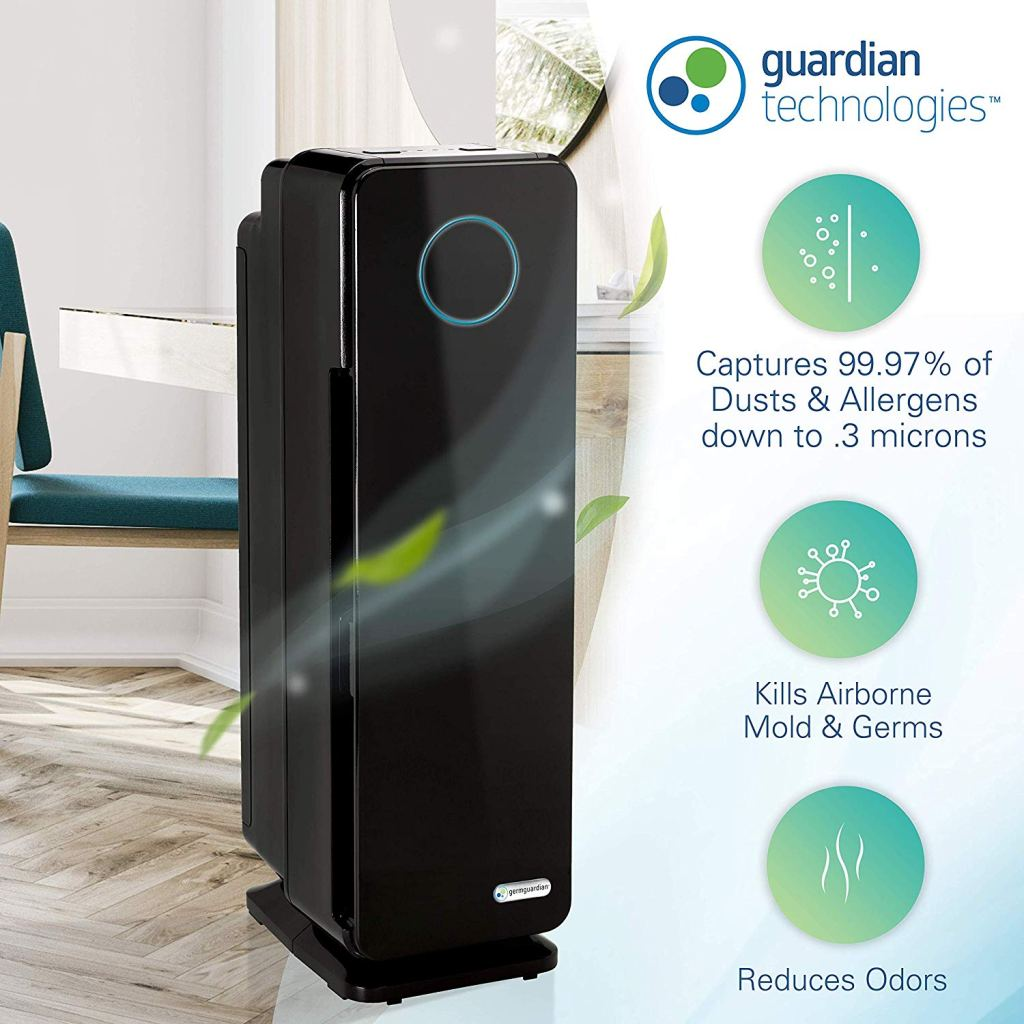 Air Purifier guardian 1 removes mold, spores, and germs