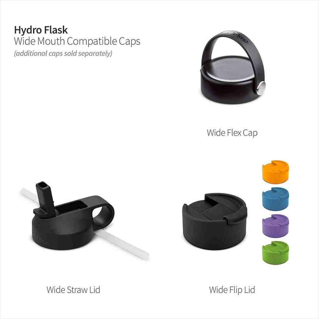 Various types of lids for hydro Flask