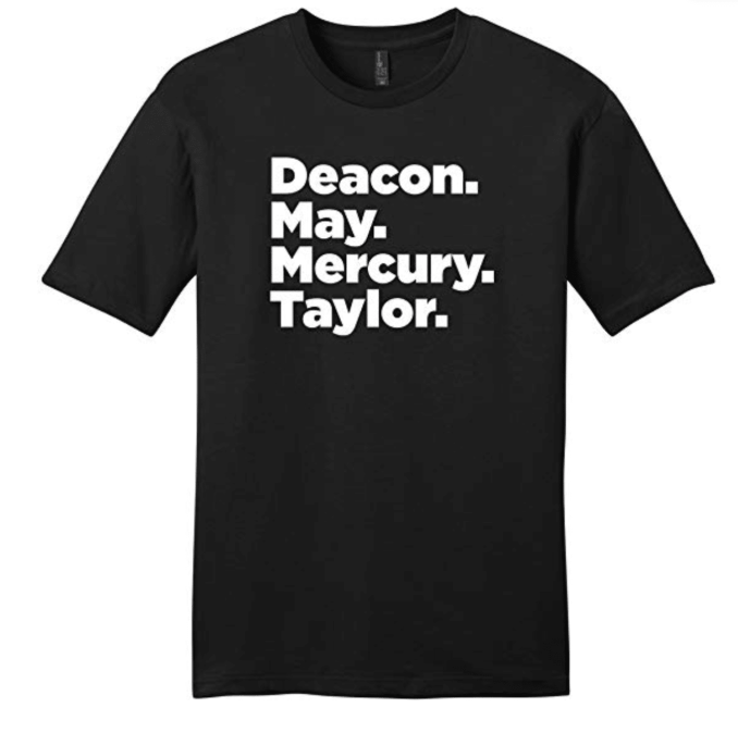 Black T-shirt with Queen Band Members Names
