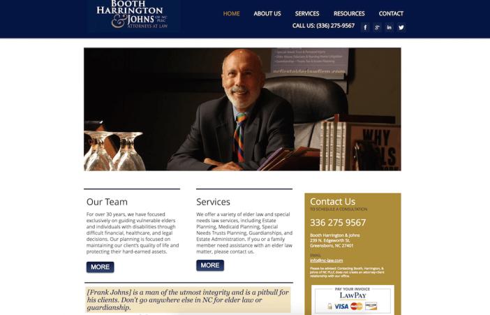 Booth Harrington & Johns website