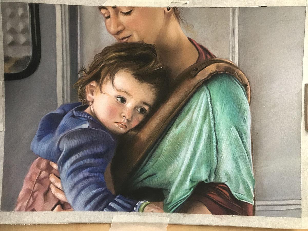 Maria Aramu - Piccolo Attimo, pastello su carta 32,5x22,5 cm
