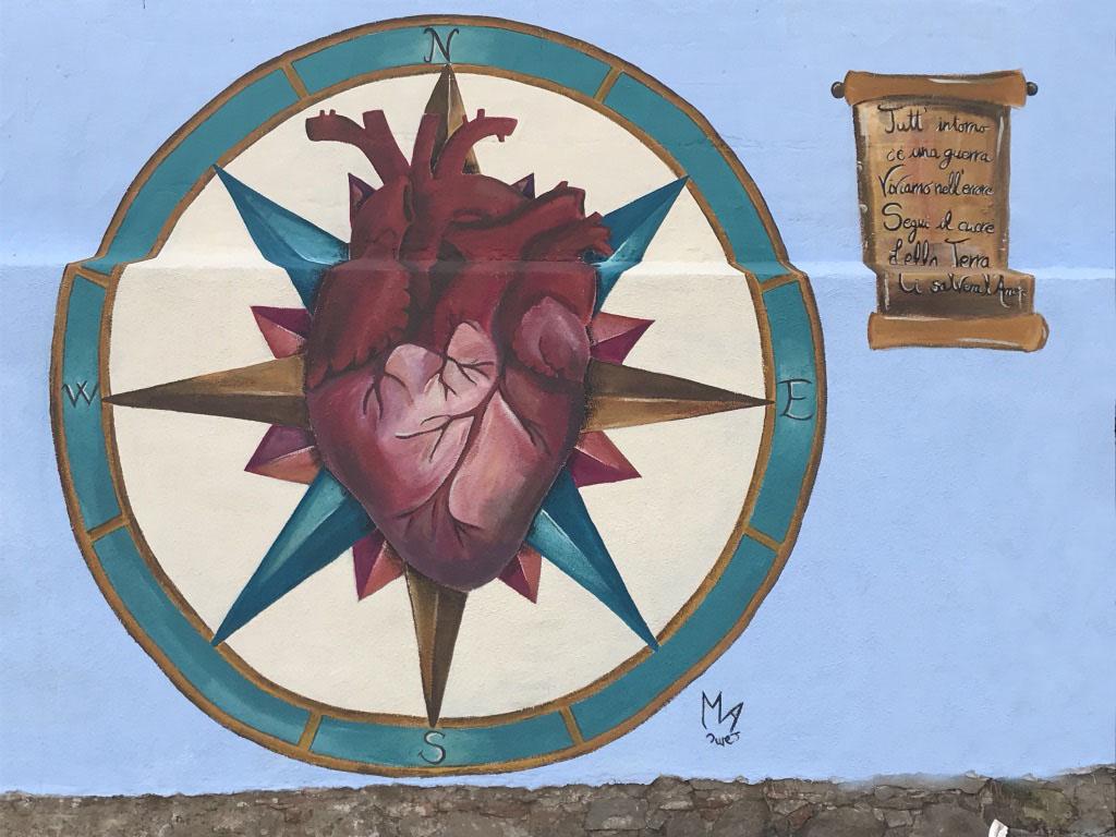 Maria Aramu - Rosa dei venti, acrilico su muro