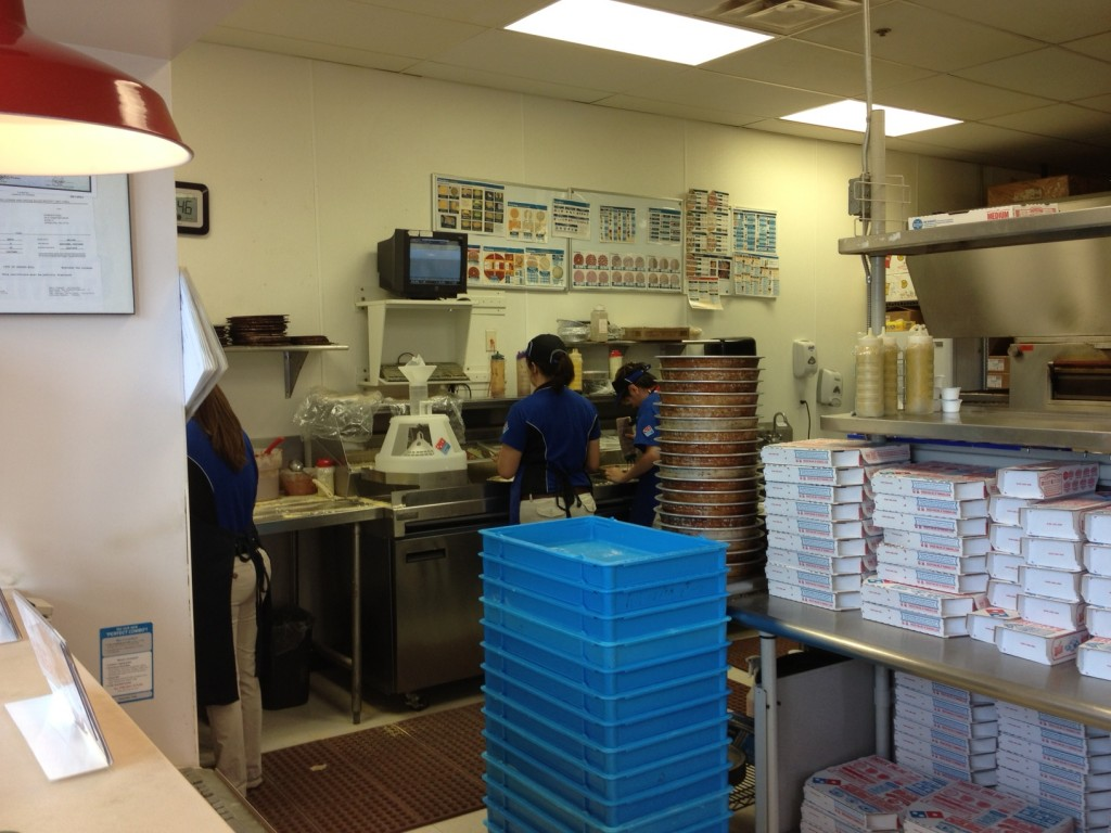 domino's pizza, kitchen prep process