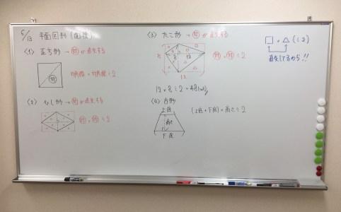 小学6年生の三角形、四角形の面積の様子