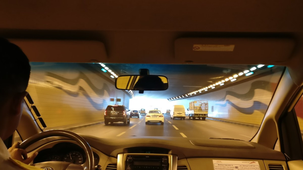 well lit underpass - Dubai in pictures
