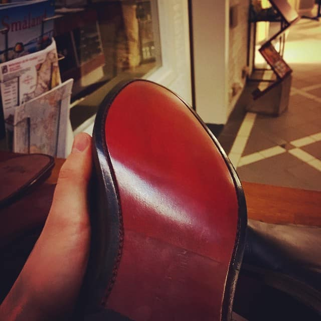 Här är skon som juryn ansåg var bäst av de anmälda bidragen. En mycket fint utför reparation av Amanuel Zemicheal.