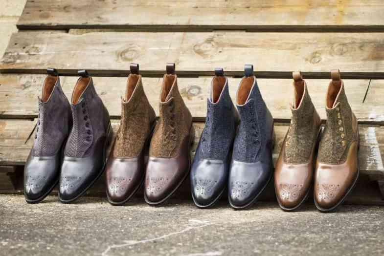 De fyra varianterna av knäppkängor som Justin tagit fram. Bild: J. FitzPatrick Footwear