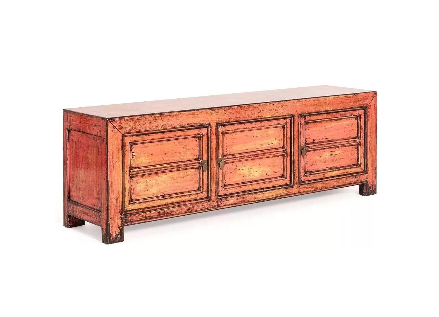 meuble tele chinois 3 portes rose saumon