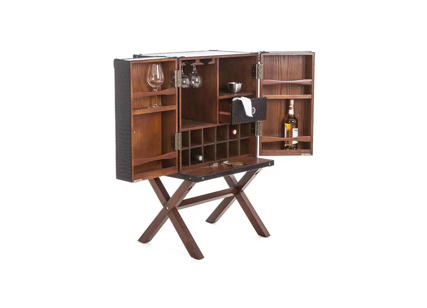 malle bar sur stand cap horn petit modele marron fonce facon croco