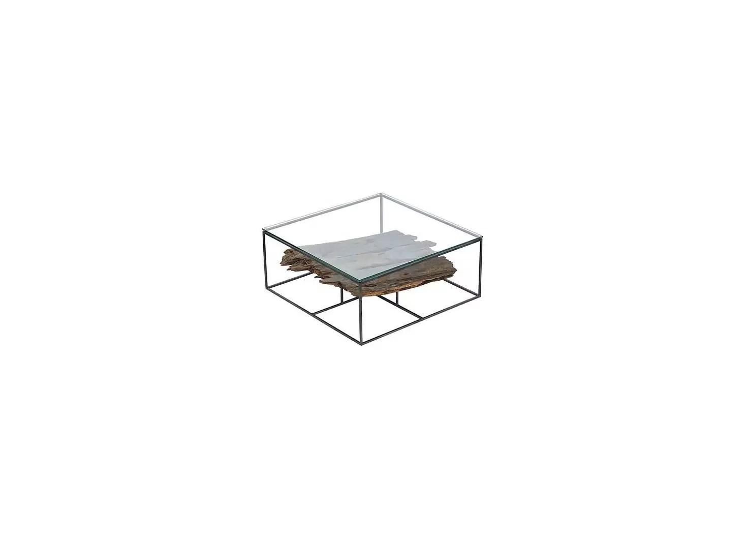table basse influence carree plateau en verre