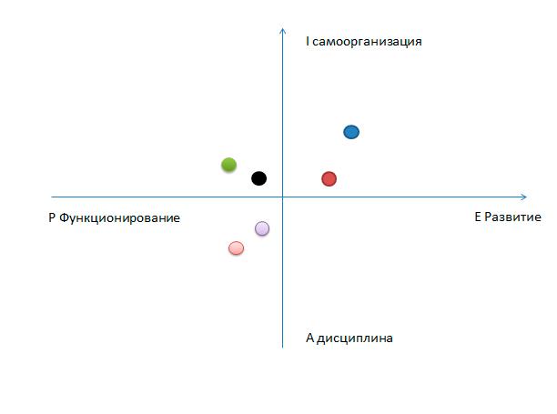 Точки --- это топ-менеджеры, стили управления которых измерены тестом PAEI