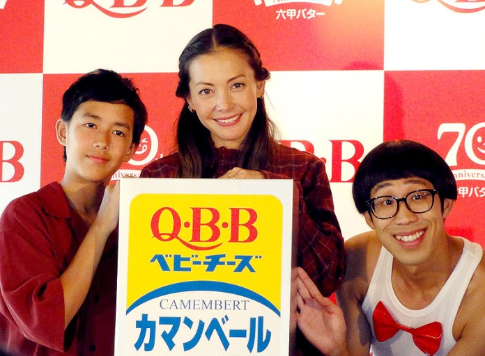 土屋アンナさん・澄海くん親子とひょっこりはん(六甲バター 70周年キャンペーン)