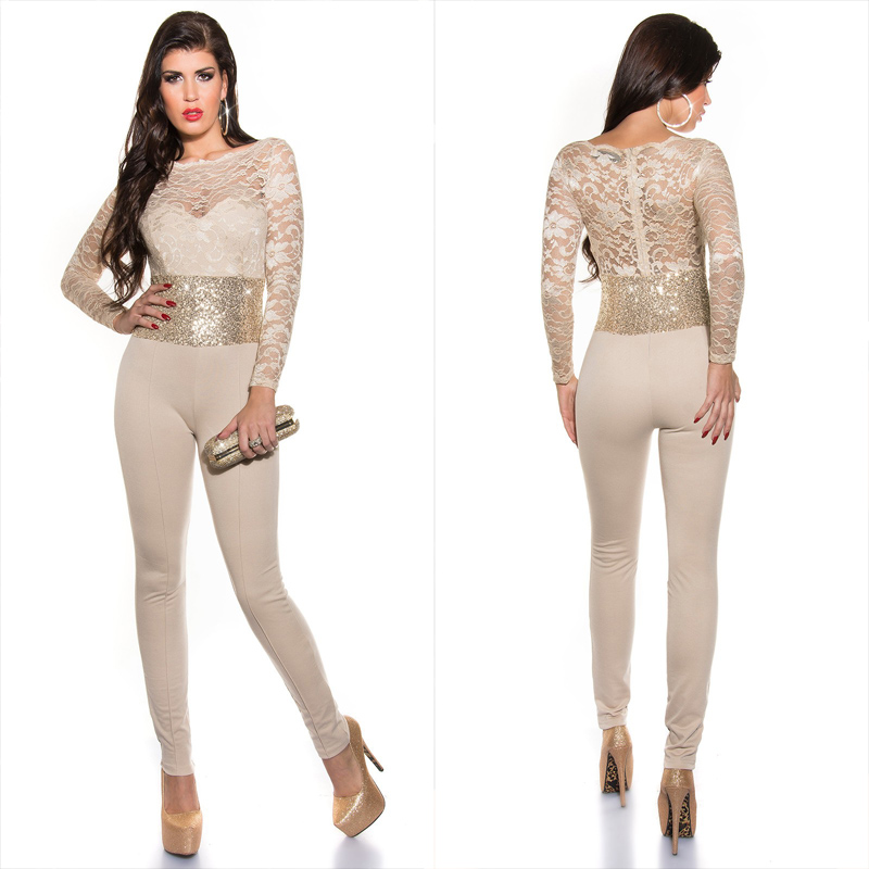 55ab1f21de Beige jumpsuit with sequins - Sholox Online Womens Store
