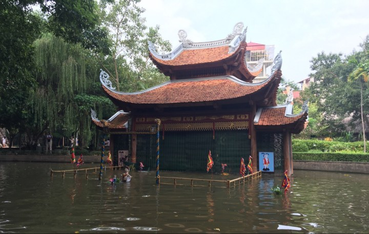 A Water puppet show at the ethnology museum. It's traditional form of entertainment in Vietnam.