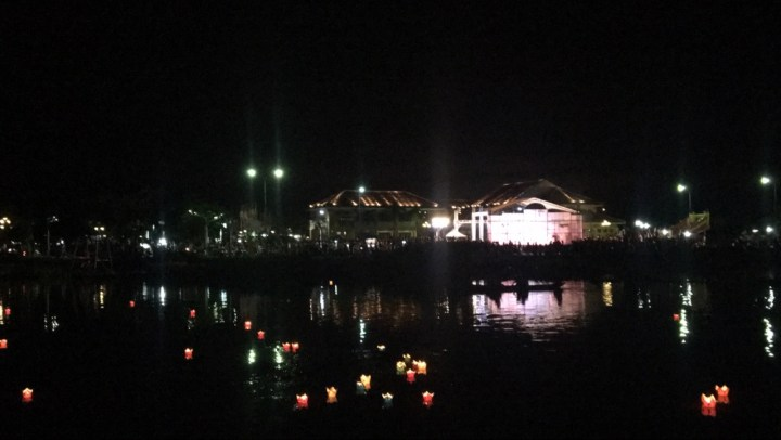 Lanterns set on the river