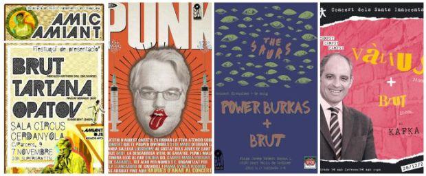 Algunos carteles de los conciertos de Brut en 2014