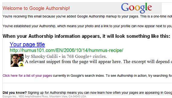 אישור קבלה Google Authorship Program