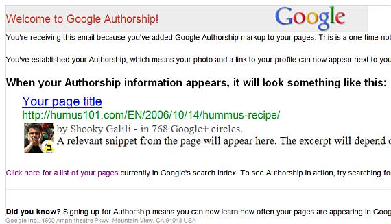 אישור קבלה Google Authorship Program