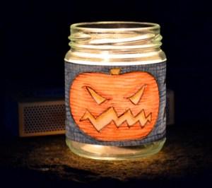 halloween jam jar lantern