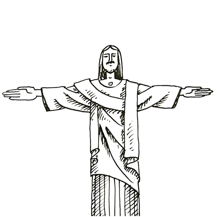 How To Draw The Statue Of Christ The Redeemer In Rio De