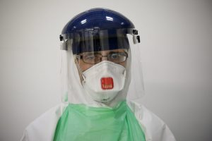 Roger Alcock in his safety suit - DFID - UK Department for International Development