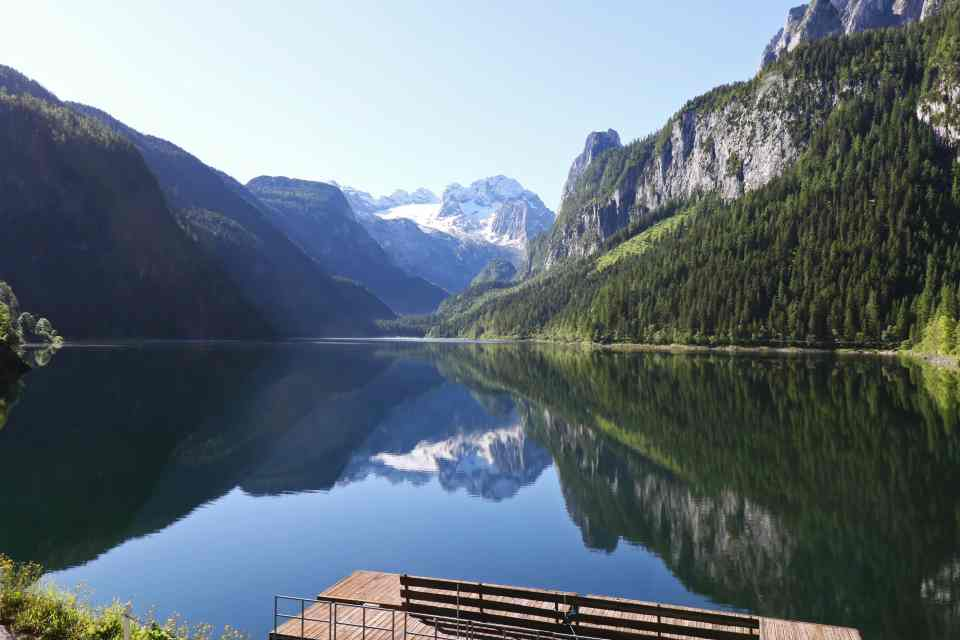 Morning views from Gasthof Gosausee looking our across the lake