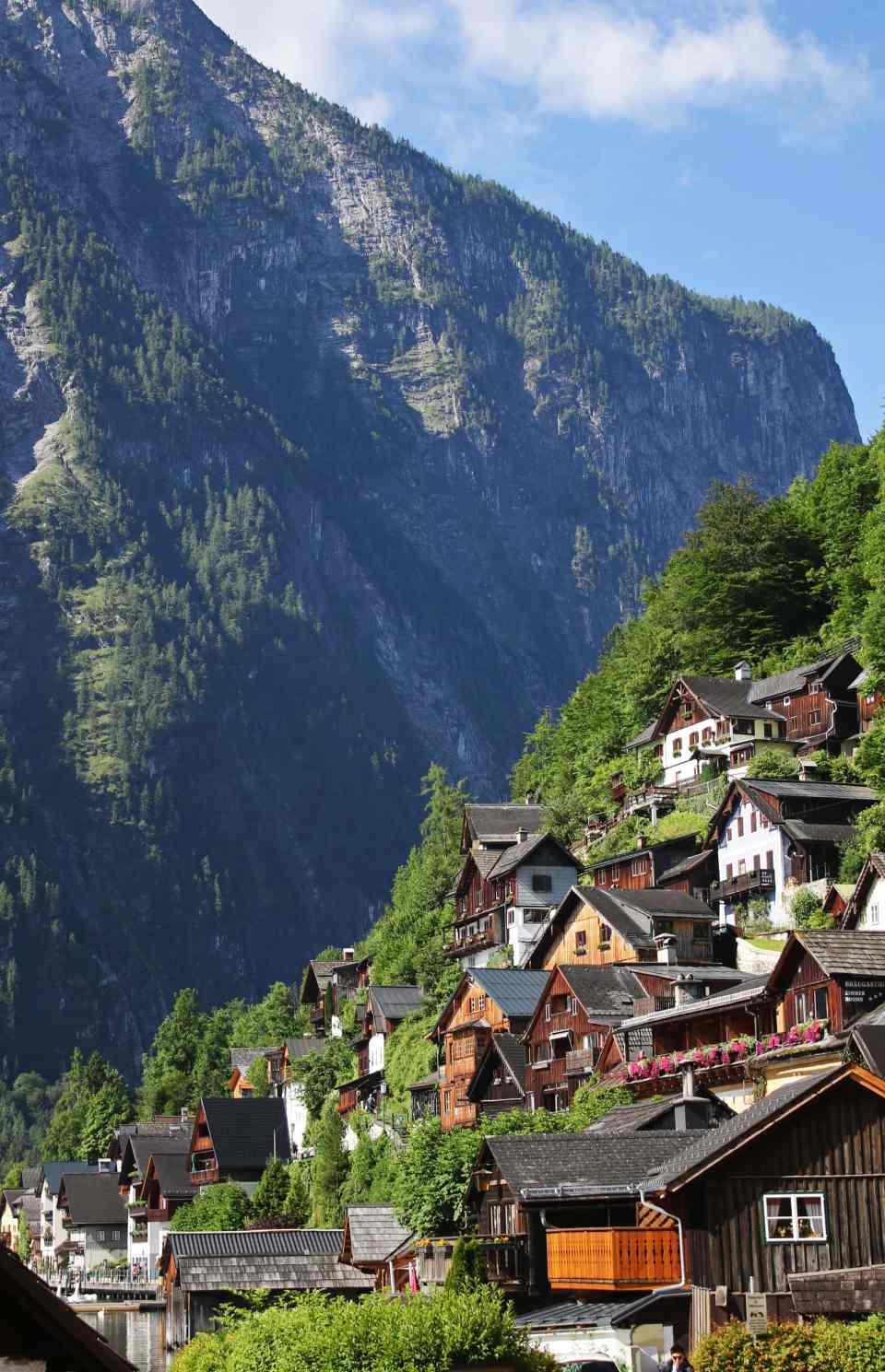 Houses built into hillside at Hallstatt