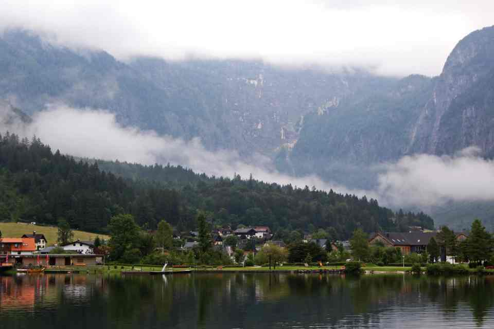 Low hanging mist over the village of Obertraun