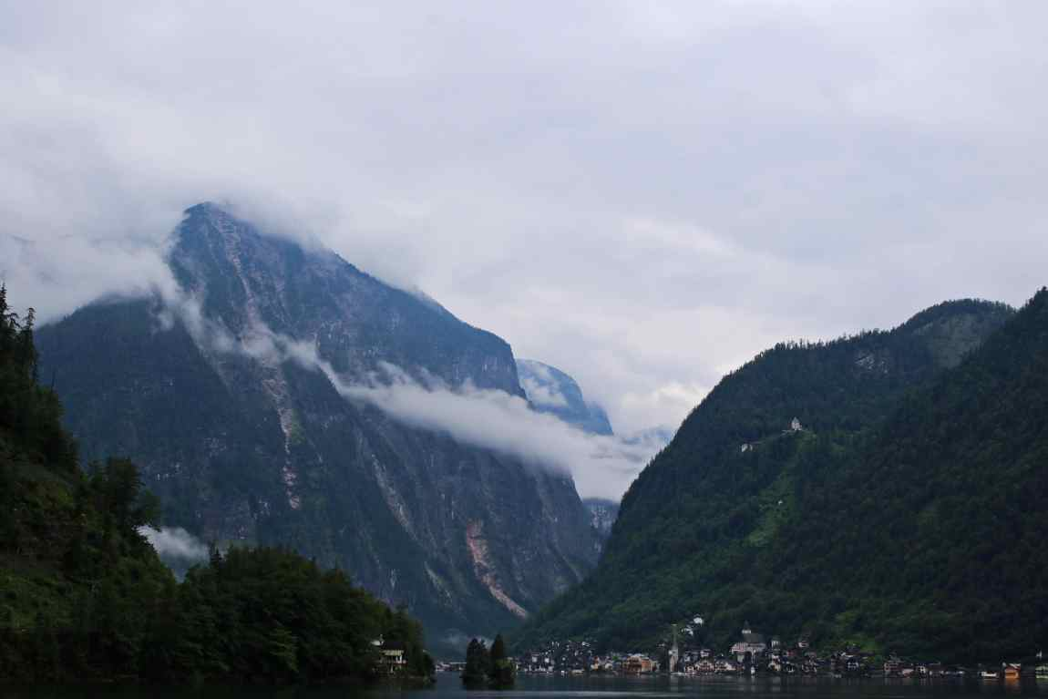 The mountains towering over the village of Hallstatt