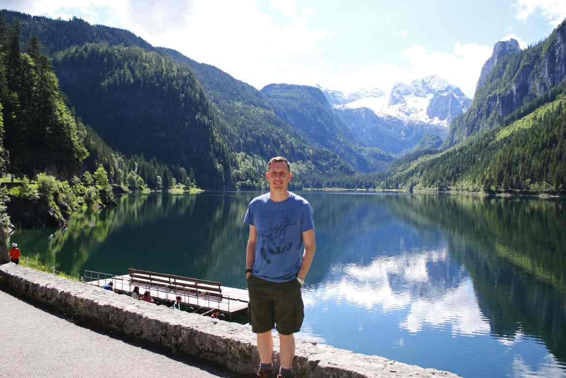 Portrait shot standing on the shore of Lake Gosau