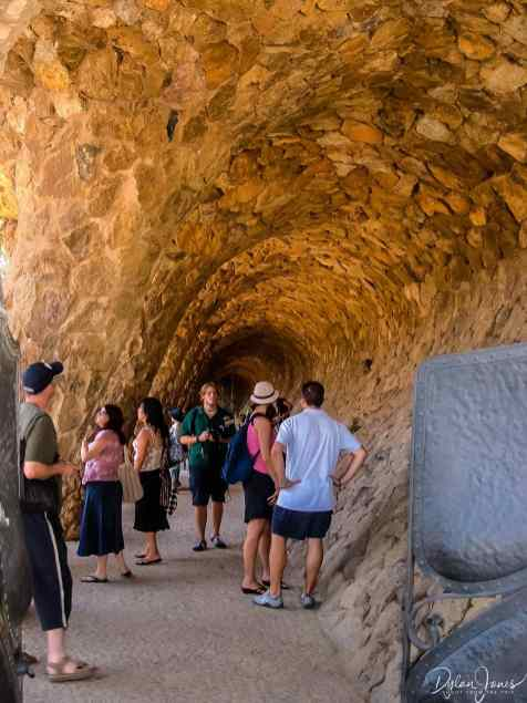Carved stone walkway in Parc Guell