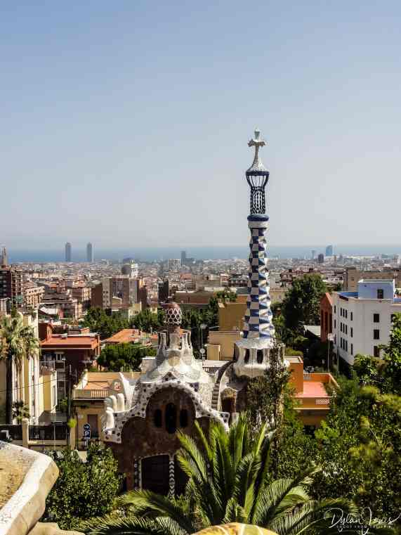 Parc Guell views across Barcelona