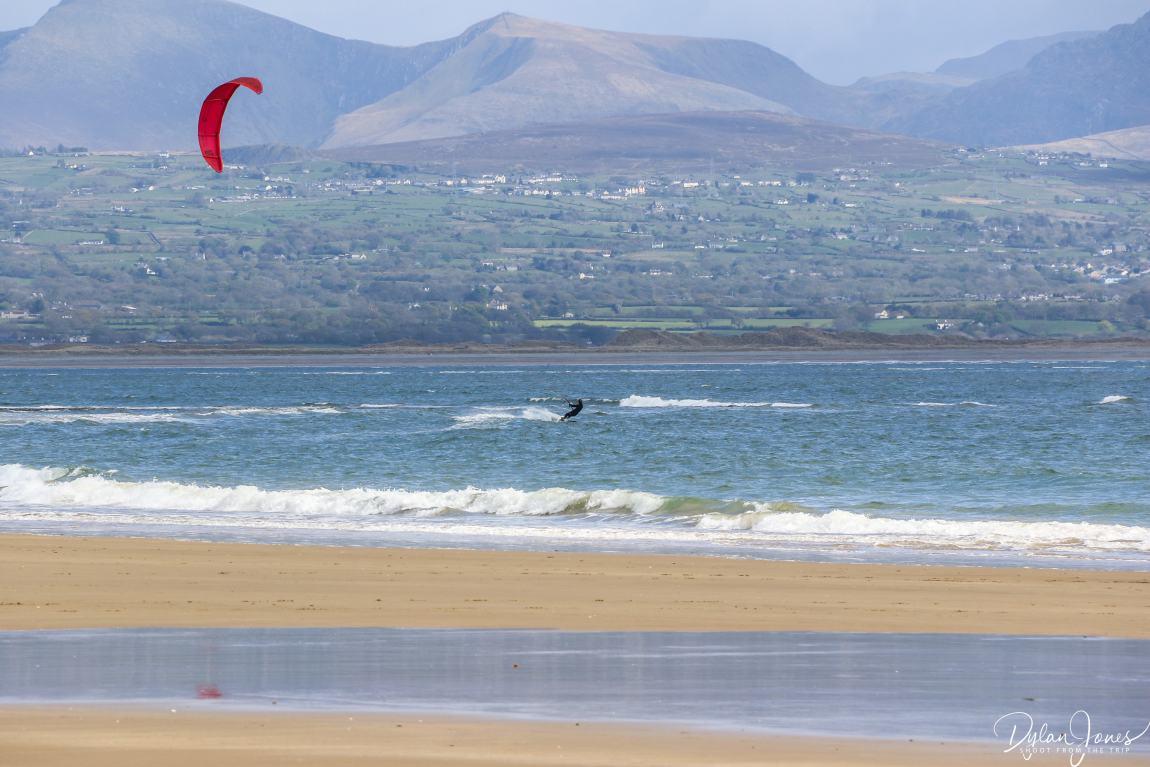 A kite surfer on Newborough Beach Wales