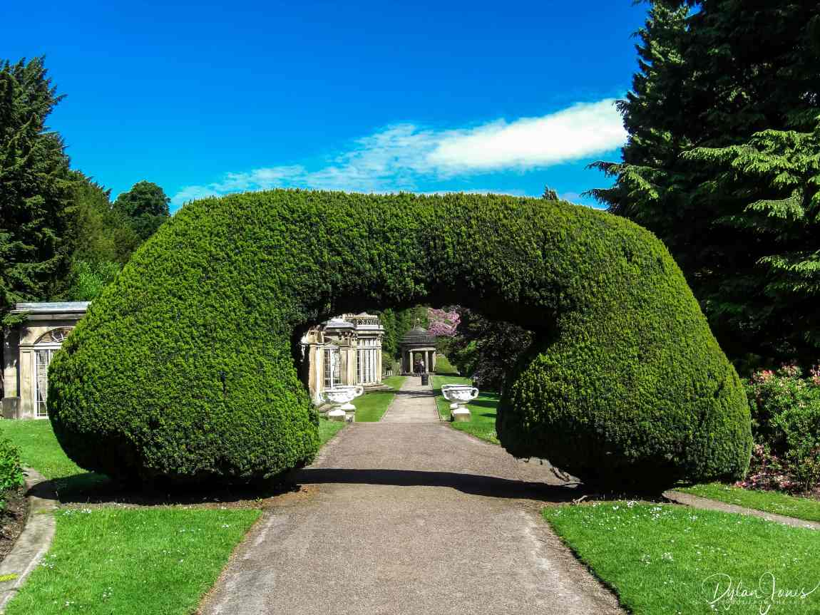 Manicured hedges and the conservatories in the Gardens at Alton Towers