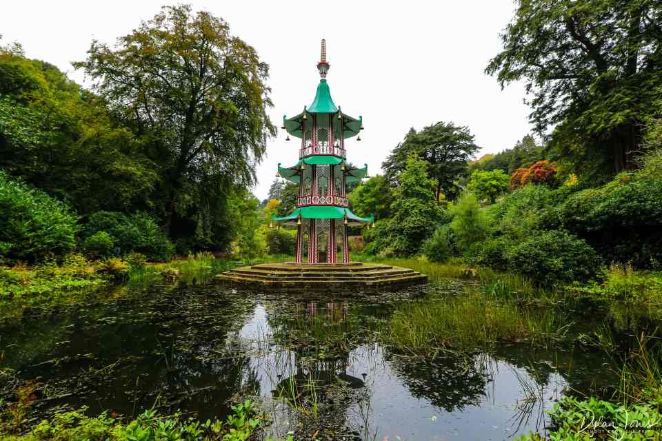 The Pagoda Fountain nestled deep in the valley of the Alton Towers gardens