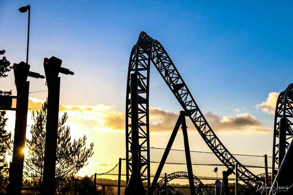 The sun sets behind The Smiler rollercoaster at Alton Towers