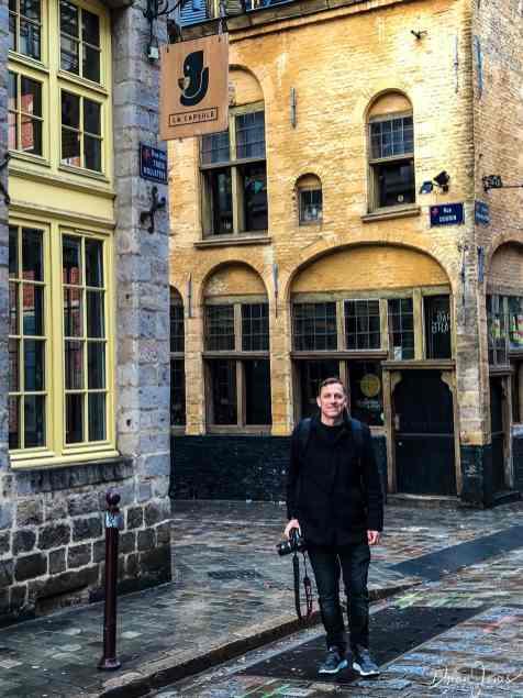 portrait outside of the la capsule bar in vieux lille