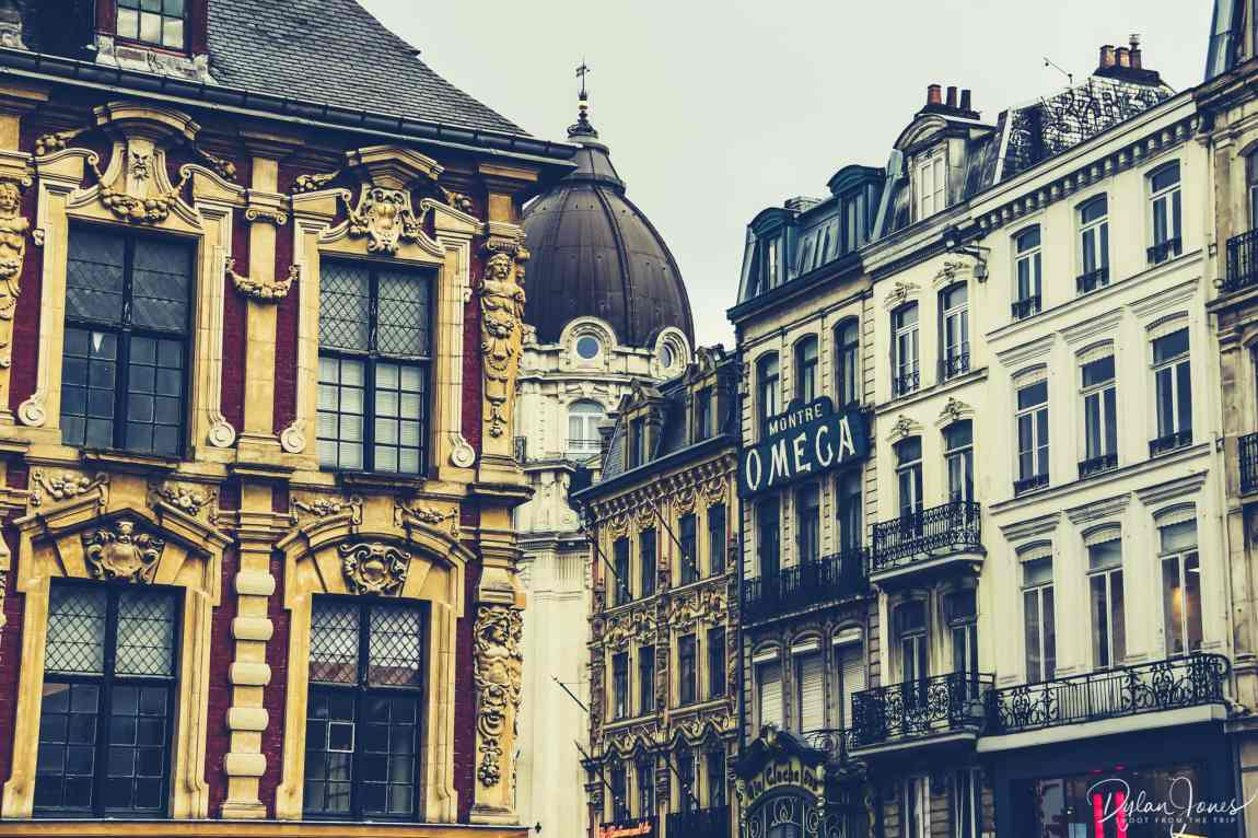 Close up building details around the grand place in lille