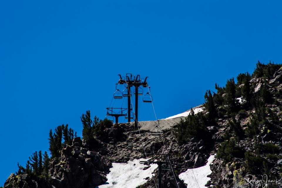 Eastern Sierra Mammoth Lakes chair lifts and snow in June