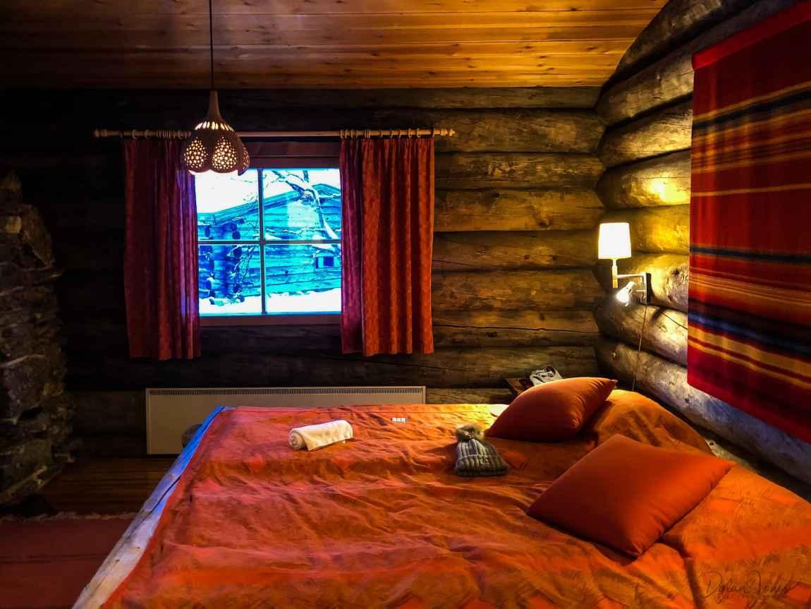 Bedroom Area in Cabin 26 Kakslauttanen East Village