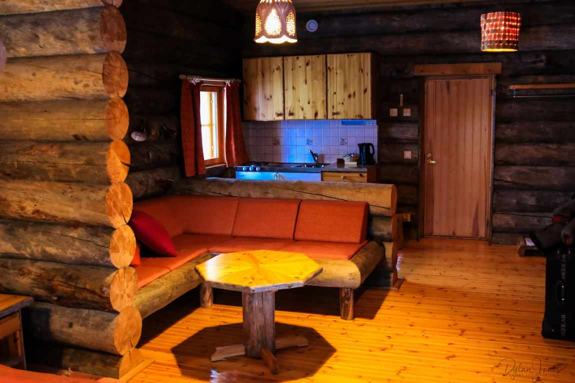 Kitchenette and Seating Area in Cabin 26 Kakslauttanen East Village