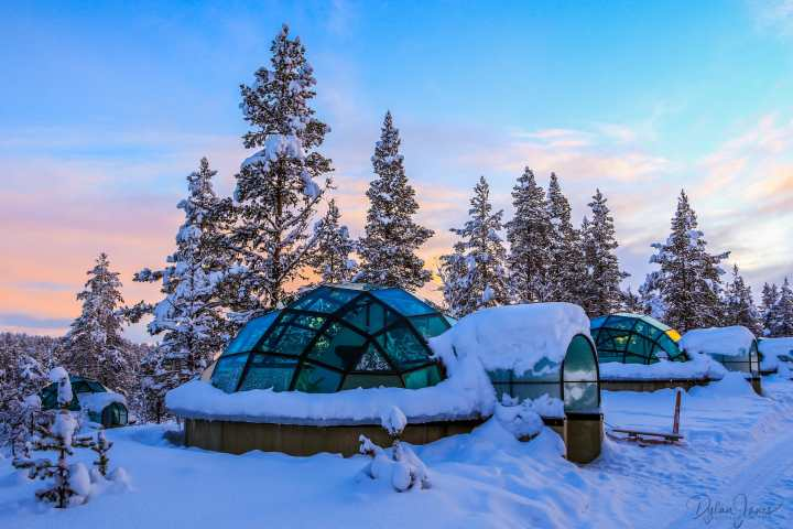 External photo of Glass Igloo at Kakslauttanen Arctic Resort