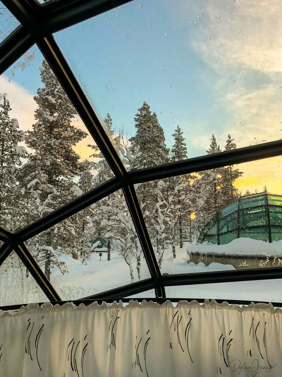 A view across to the next glass igloo at Kakslauttanen East Village