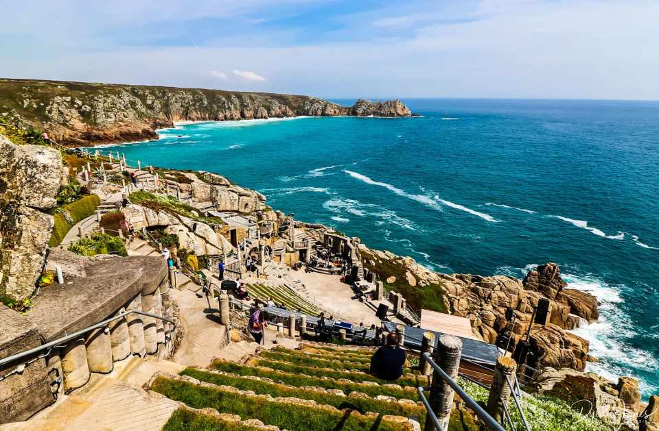 The view from the top of the Minack Theatre on the South Cornwall coast