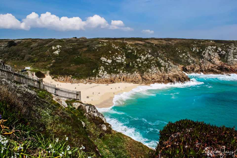 The view of Porthcurno Beach from the Minack Theatre, South Cornwall coast
